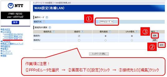 [WAN設定]から[WAN設定(有線LAN)]を選択し、接続方式で「PPPoEルータ」を選択し[設定]をクリックしてから[編集]をクリック
