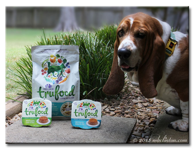 Three varieties of Wellness TruFood with Basset Hound