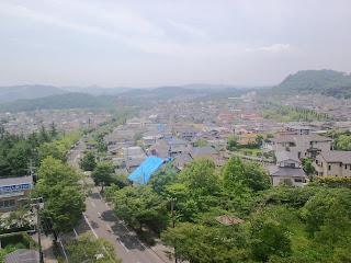 写真:病室窓から外の風景。緑が多い。被災したため、屋根にはブルーシートがかかっている家もある。