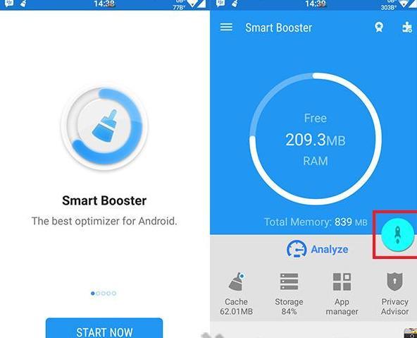 """Hasil gambar untuk Jika sudah berhasil di install , selanjutnya buka aplikasi smart booster ini dengan cara Klik """"Start Now"""" , kemudian untuk Tekan gambar yang seperti rocket untuk pelepasan RAM."""