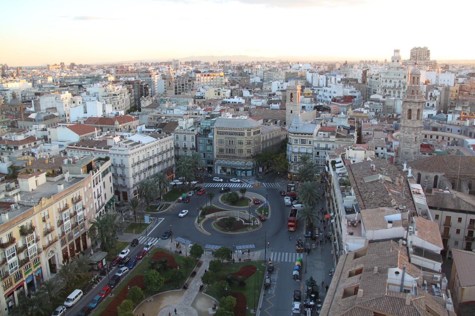 Vista aérea de la Plaza de la Reina, Valencia