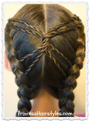 Hourglass braid hairstyle using dutch braids and rope braids