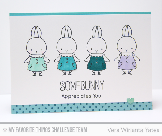 Quartet of Bunnies Card by Vera Wirianta Yates featuring the Birdie Brown Somebunny stamp set #mftstamps