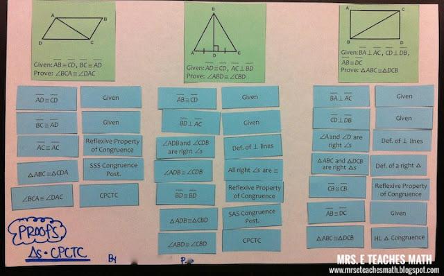 Teaching Geometry Proofs with Cut-Out Activities | mrseteachesmath.blogspot.com