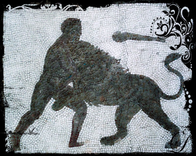 Mosiac shows Hercules fighting the Nemean Lion