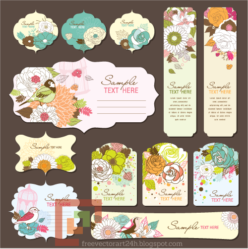 [Vector] Beautiful floral gift tag