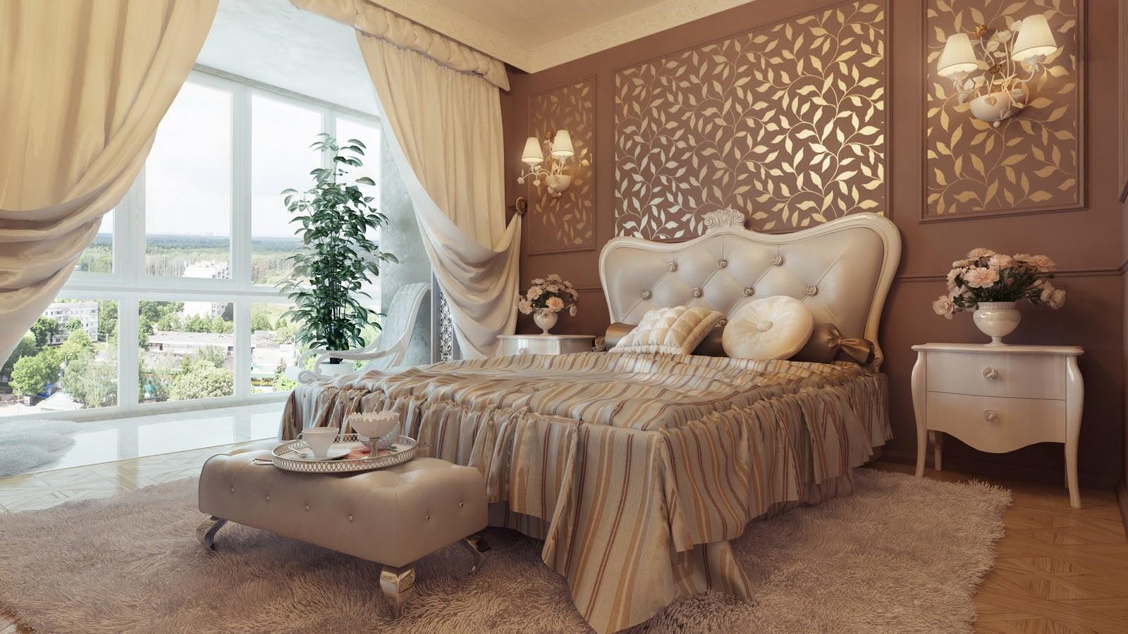 Desain Interior Kamar Tidur Klasik Warna Krem Dan Putih.txt