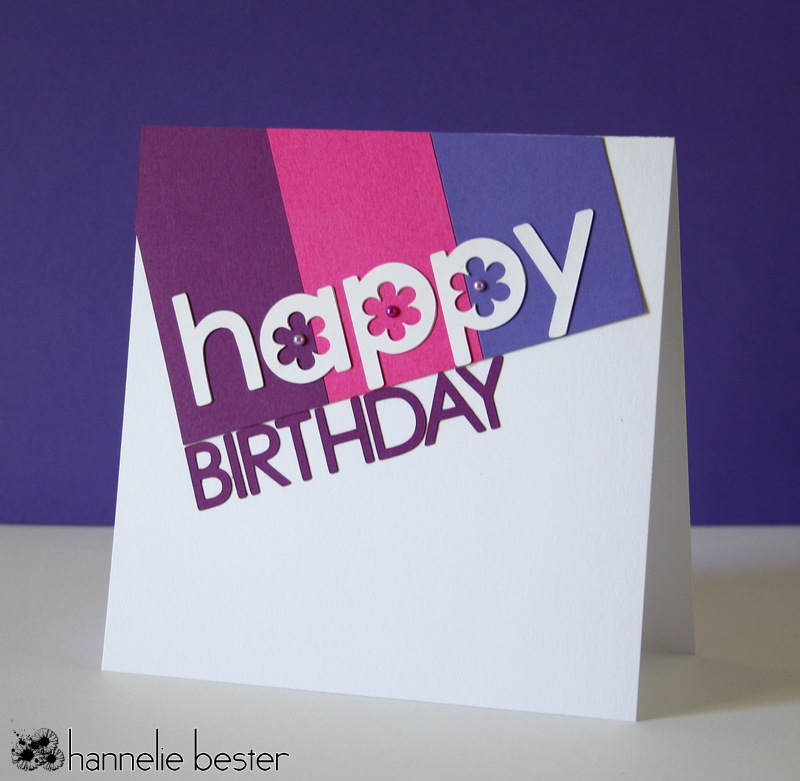 hand made happy birthday card using die cuts in berry colours