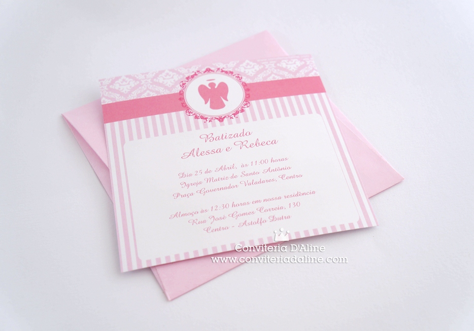 convite batizado menina rosa