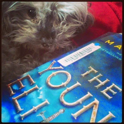 Murchie's face hovers behind a hardcover copy of The Young Elites. The cover depicts the title against a deep blue background.