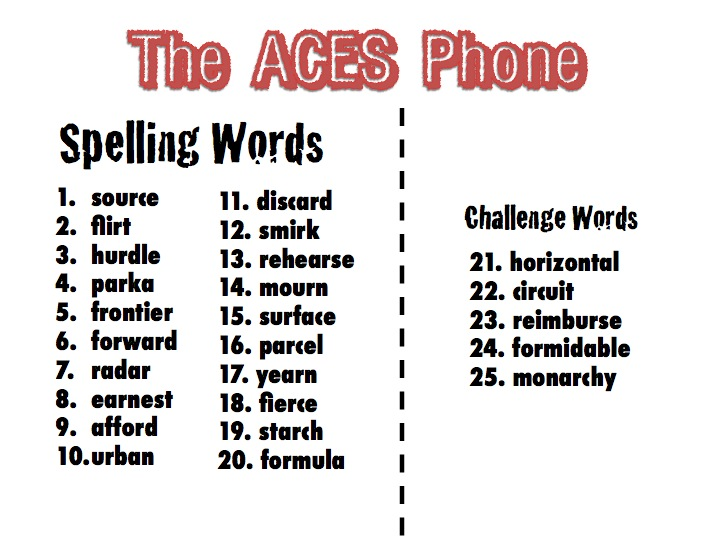 6th Grade Spelling And Vocabulary Words The ACES Phone