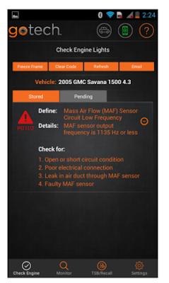 GoTech Bluetooth OBDII Diagnostic Tool error scan