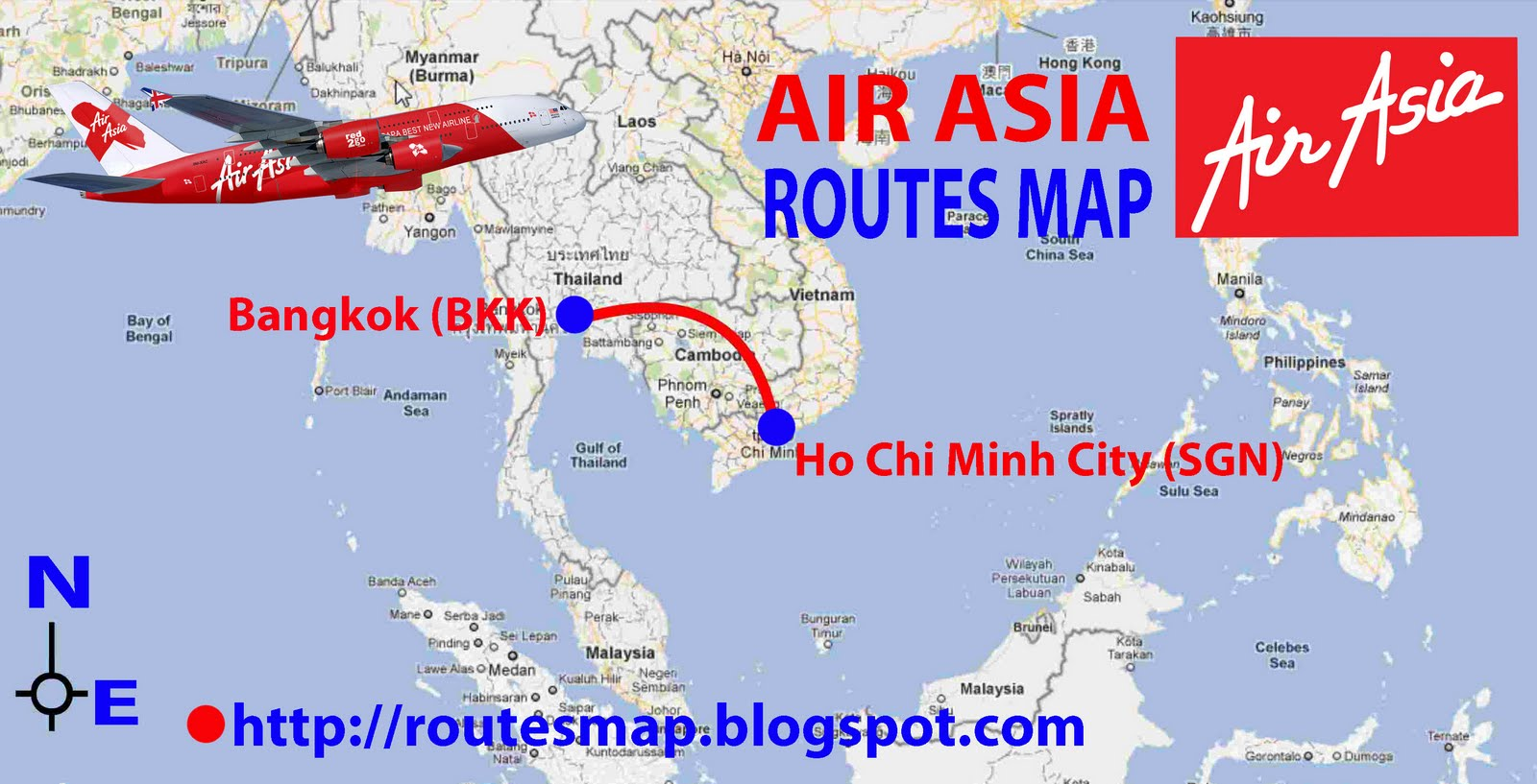 routes map: Air Asia Routes Map-flight from Ho Chi Mint to Bangkok