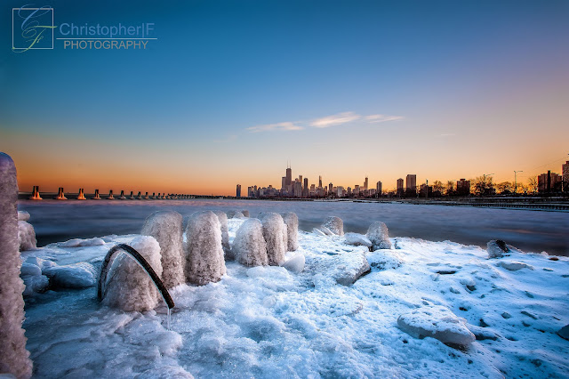 Sunset over an Snowy Icy Chicago at Fullerton