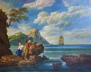 Escena costumbrista. Pareja de pescadores en acantilado con mar y barco