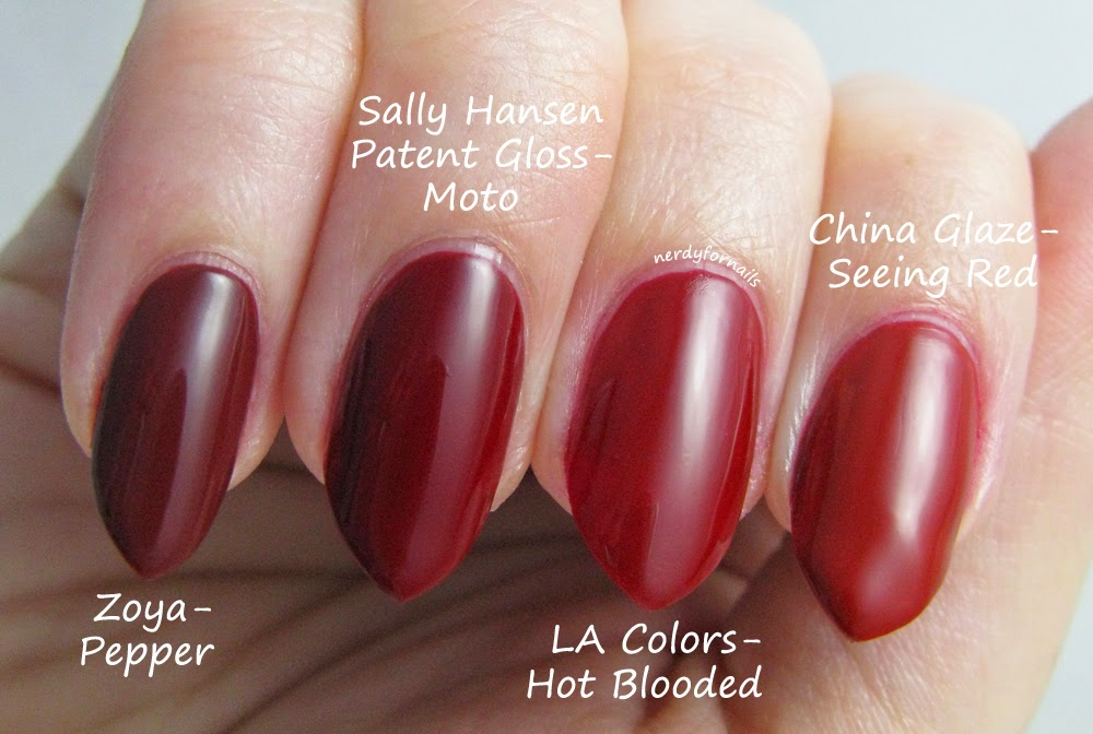 Comparison- red polishes- Zoya Pepper, Sally Hansen Patent Gloss Moto, LA Colors Hot Blooded, China Glaze Seeing Red The Giver Collection