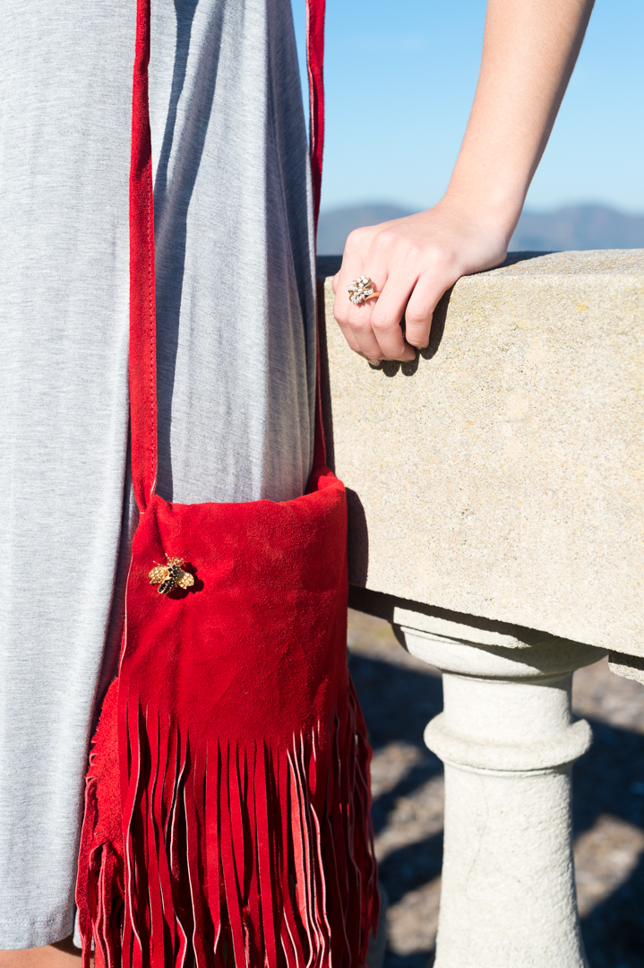 Jesslyn Blake Red Frindge Purse on Bryn Newman San Francisco Fashion Blogger