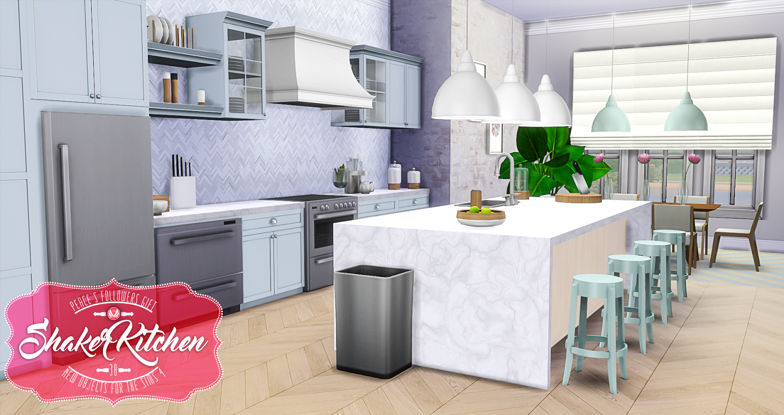 My sims 4 blog updated shaker kitchen by peacemaker ic for Kitchen ideas sims 4