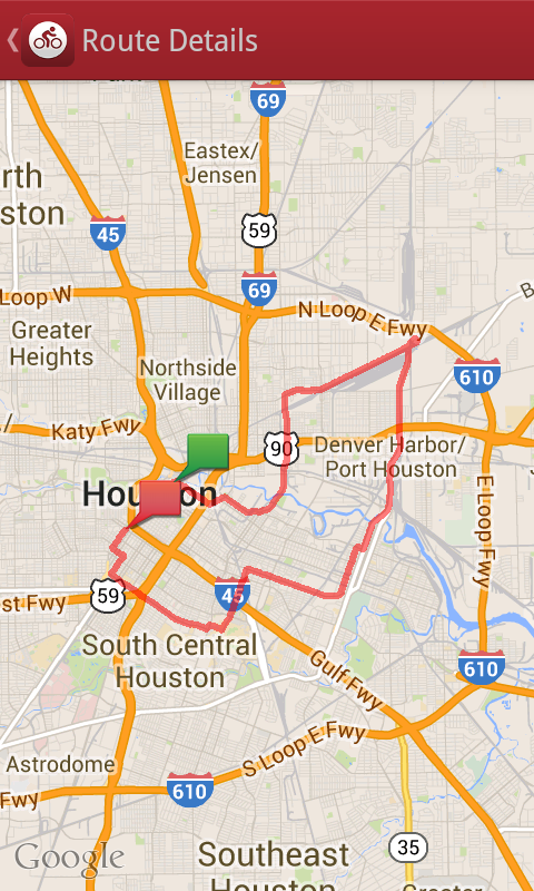 Houston Critical Mass Bike Ride Route