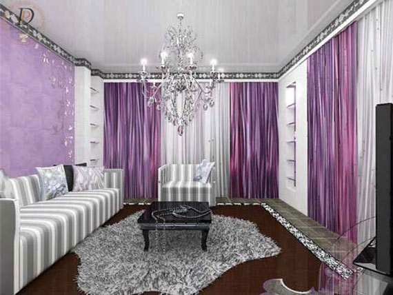 The Elegance Of Purple Living Room Concept
