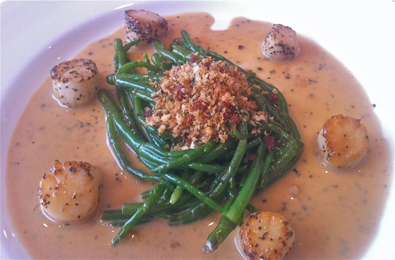The Rose Garden - Samphire scollops - seared scallops, english samphire, white wine, bacon crumbs