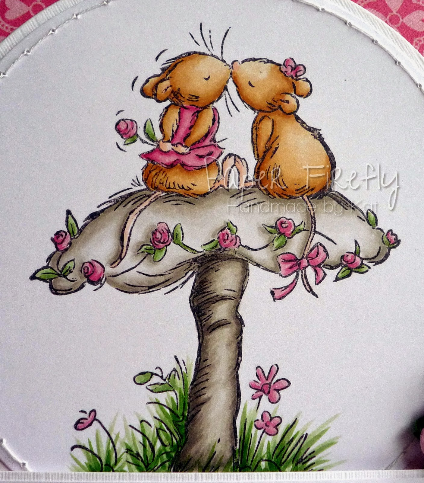 Pink romantic card featuring mice on a mushroom from Crafter's Companion