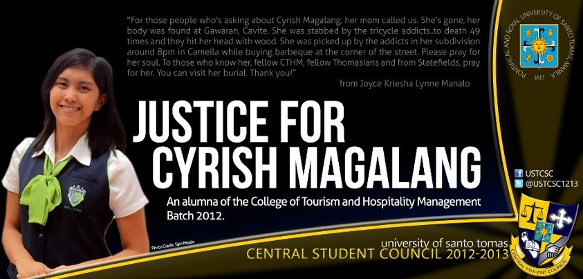 Justice for Cyrish Magalang - UST alumna stabbed to death 49 times