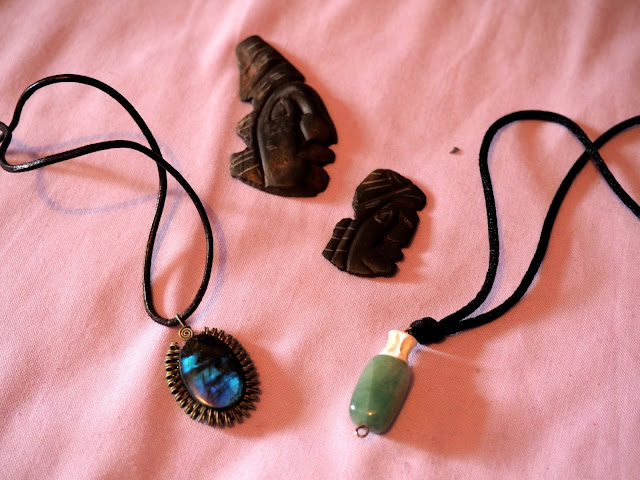 Jade necklace, blue element necklaces & Mayan stone carvings from Belize