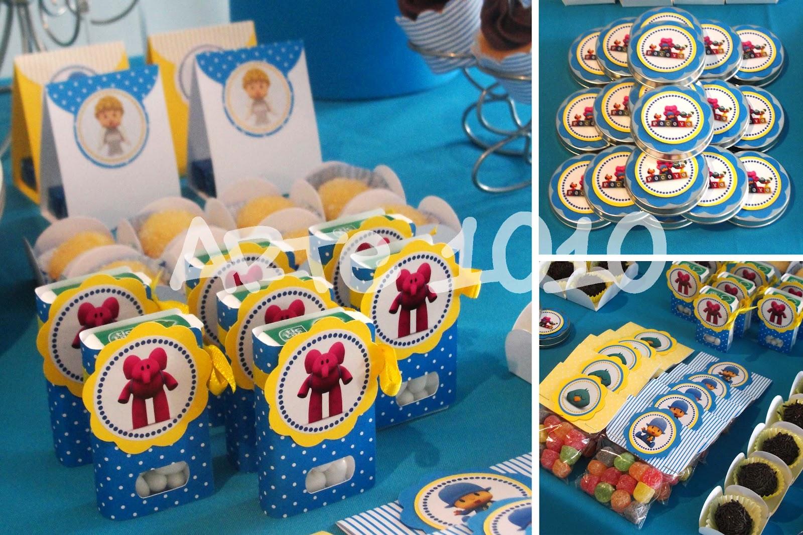 decoracao de festa infantil azul e amarelo: Elly e Sonequita alegraram os enfeites produzidos em azul e amarelo