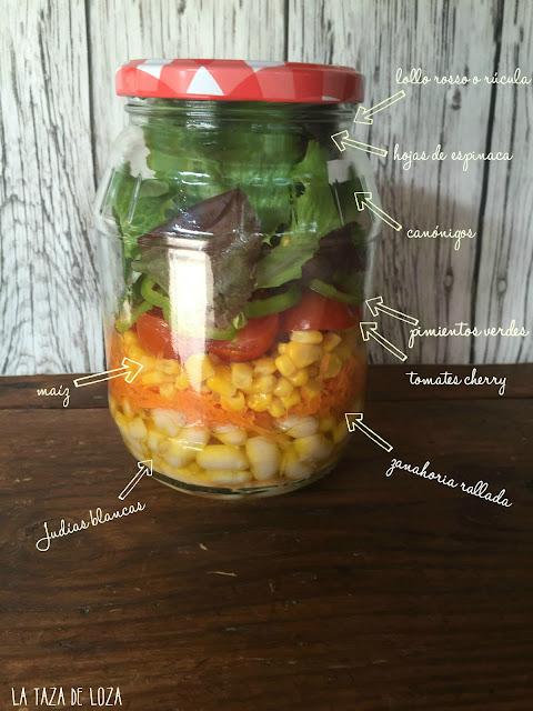 ingredientes de la ensalada en tarro de cristal