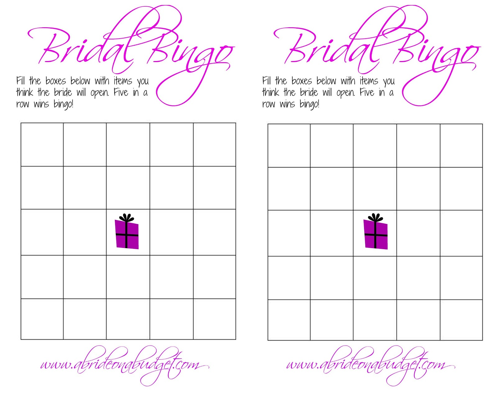 Declarative image intended for bridal shower bingo printable
