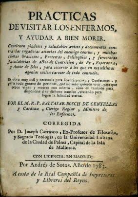 1783 PRÁCTICAS DE VISITAR LOS ENFERMOS