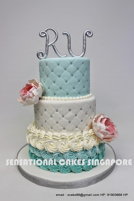 PASTEL BLUE 3 TIER CAKE SINGAPORE 21ST BIRTHDAY PEONIES PINK WEDDING SILVER METALLIC THEME OMBRE ROSETTE GRID