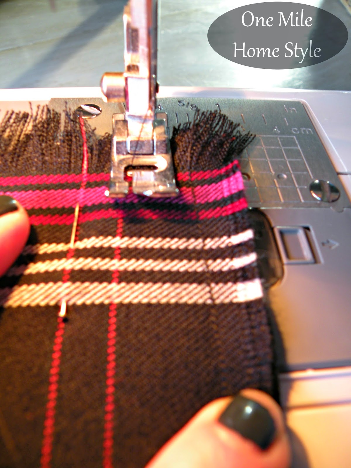 DIY Plaid Blanket Infinity Scarf   One Mile Home Style