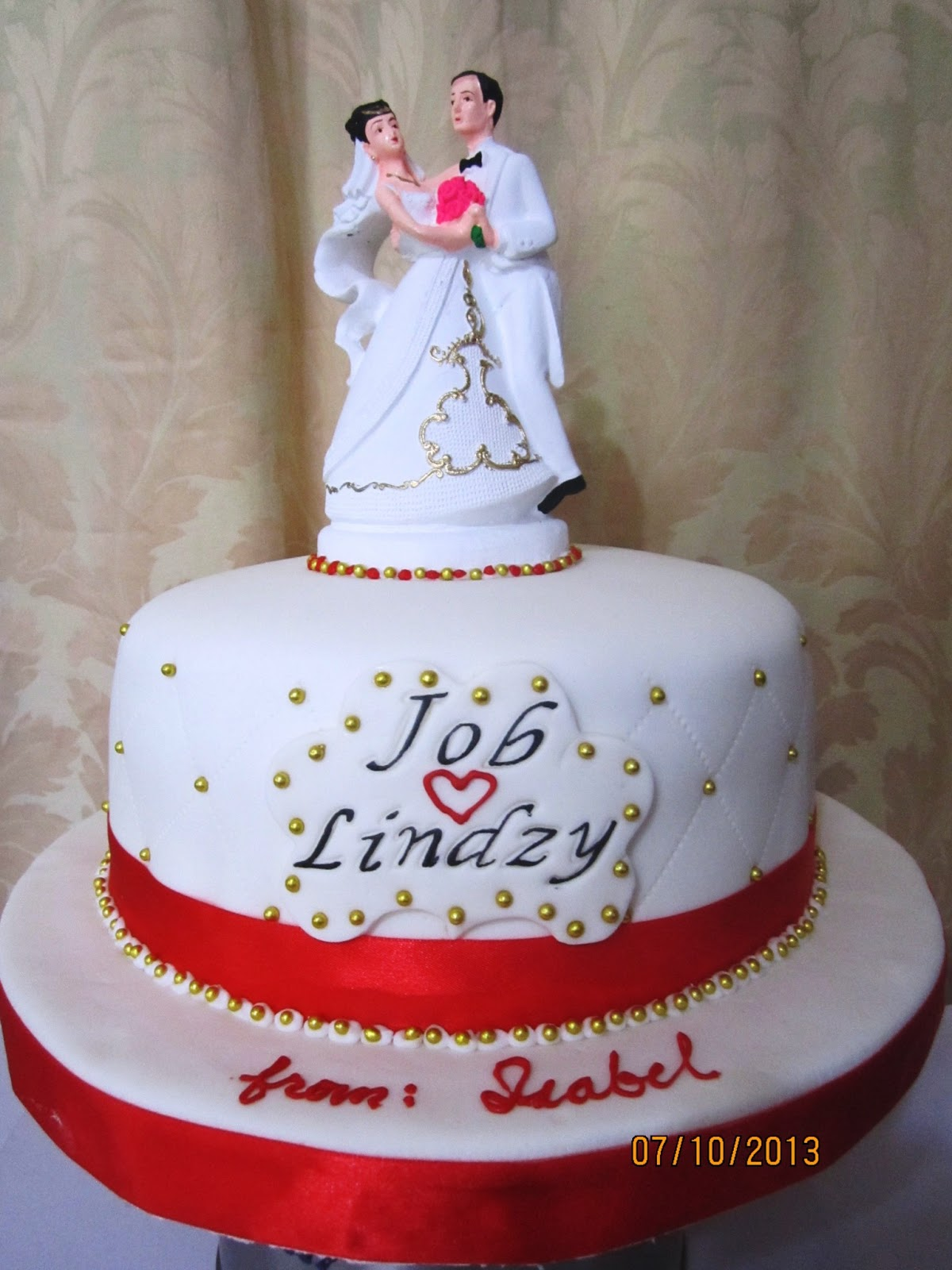 red/gold wedding cake | JnyJ (j-nee-j) cakes