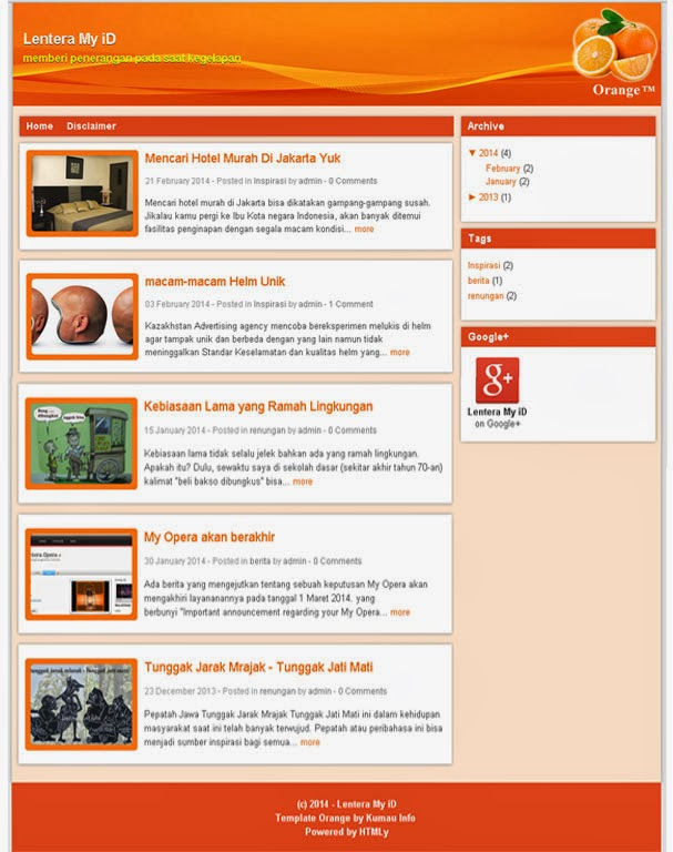 Template SEO Friendly Orange Kumau Info