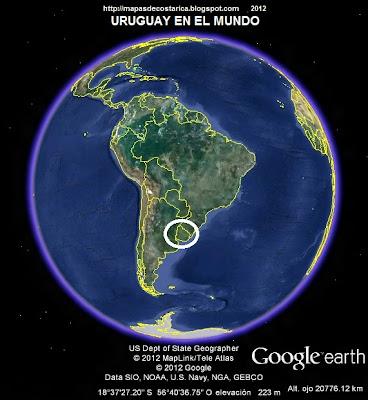 Ubicación de URUGUAY en El Mundo, Google Earth
