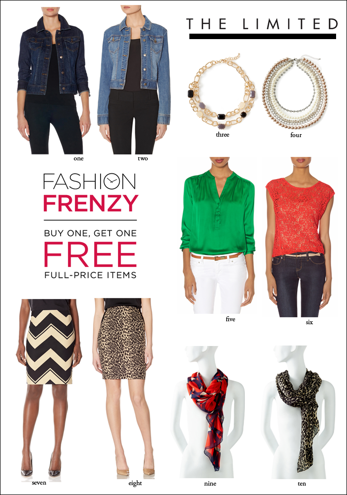 buy one, get one free, bogo, the limited, pencil skirts, denim jackets, statement necklaces