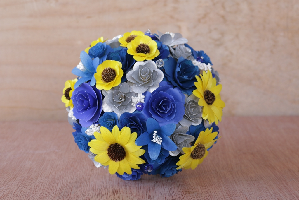 Royal Blue, Silver and Yellow Wedding Bouquets, Corsages, Flower ...