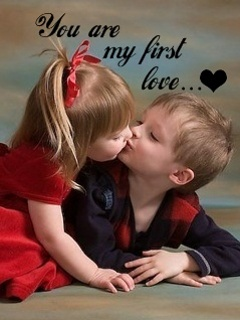 cute child's kissing mobile wallpaper