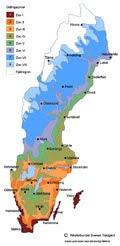 Svensk Trädgårds zonkarta över Sverige