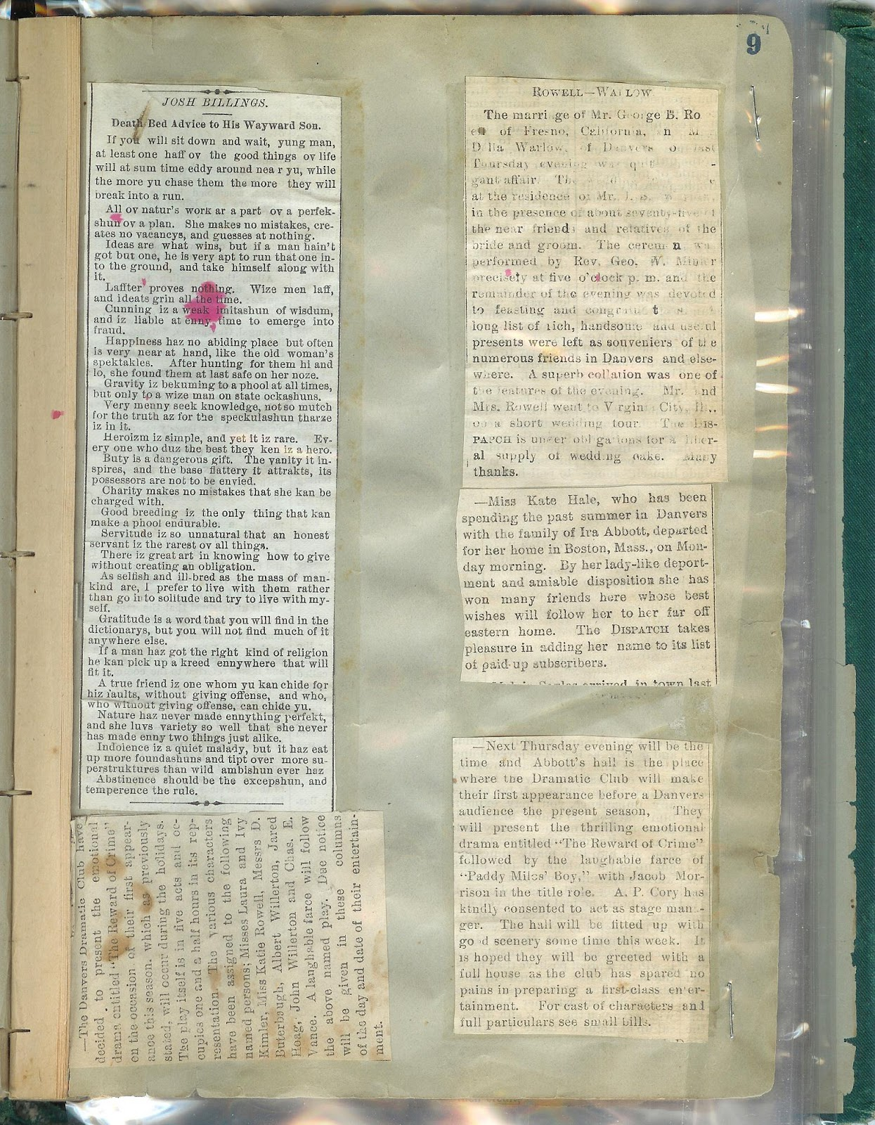 How to scrapbook newspaper clippings - Inside His Scrapbook Begins With Newspaper Clippings Of Poetry And Notices Of Plays Presented By The Danvers Dramatic Club