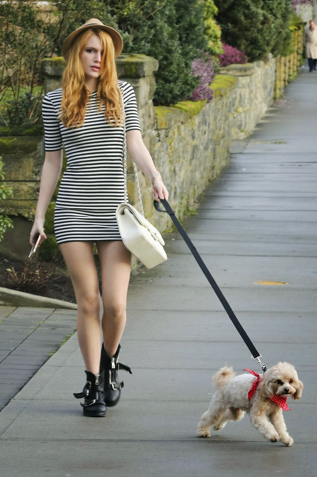 Actress, Singer, Model, Dancer @ Bella Thorne Walking her Dog at Park in LA
