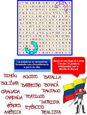 Sopa de letras, Descubre las palabras, Sopa de letras circular, Batalla de Boyacá, Palabras cruzadas, Historia de Colombia