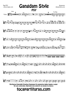 Partitura de Gangdam Style para Viola por PSY en clave de do en tercera línea Sheet Music for Viola Music Scores Gangndam