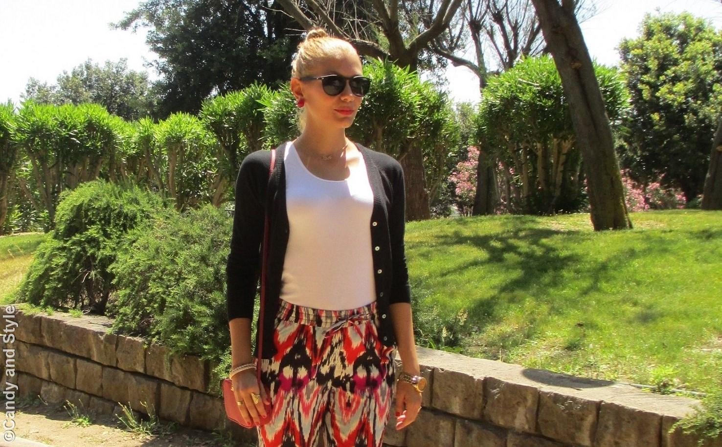 Black Cardigan, Loose Pants, Mini Bag, Excape Camo Sunglasses - Lilli Candy and Style Fashion Blog
