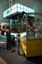 COSI visitors interact with the RobotWorx exhibit