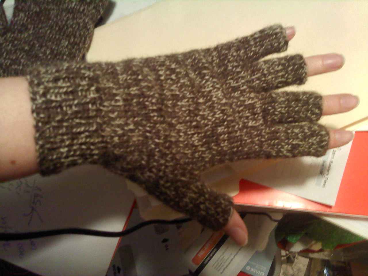 Knitting Pattern Fingerless Mittens Two Needles : Paigeedd!: Knit Fingerless Gloves