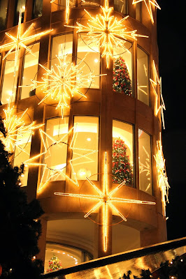 House decorated with lights