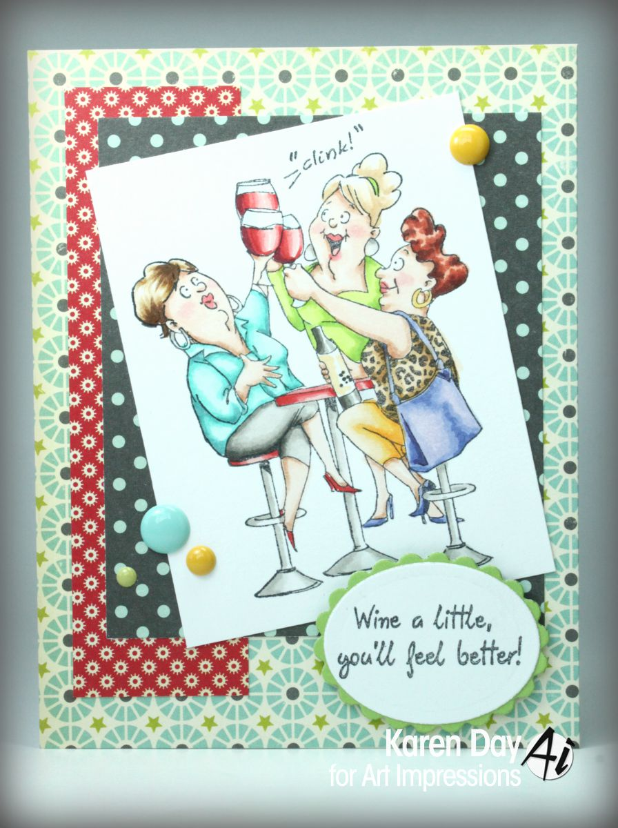 Karens creations august 2015 i switched up the papers a little popped up the sentiments on pop dots and added a few enamel dots to each there are 2 images and 6 wonderful sentiments kristyandbryce Image collections